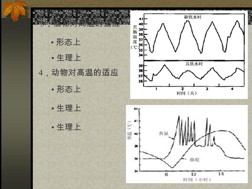 3 ,植物对高温的适应 形态上 生理上 4 ,动物对高温的适应 形态上 生理上