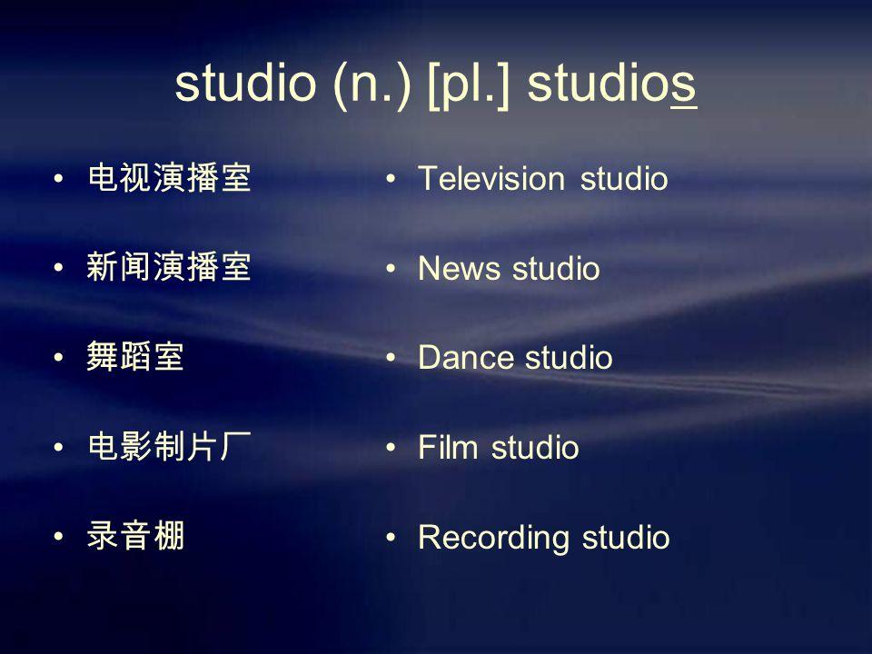 studio (n.) [pl.] studios 电视演播室 新闻演播室 舞蹈室 电影制片厂 录音棚 Television studio News studio Dance studio Film studio Recording studio