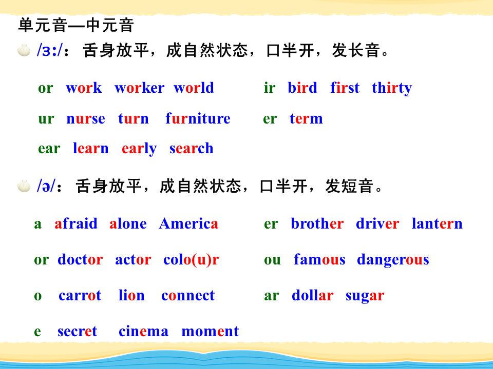 单元音 — 中元音 / ɜ :/ : 舌身放平,成自然状态,口半开,发长音。 or work worker world ir bird first thirty ur nurse turn furniture er term ear learn early search /ə/ : 舌身放平,成自然状态,口半开,发短音。 a afraid alone Americaer brother driver lantern or doctor actor colo(u)rou famous dangerous o carrot lion connectar dollar sugar e secret cinema moment