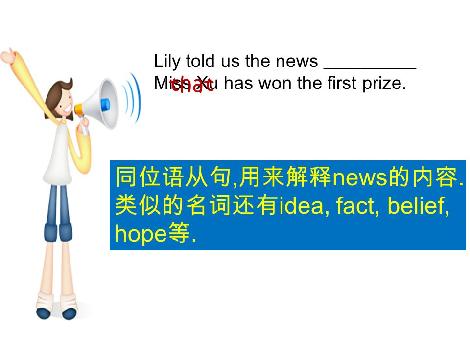 Lily told us the news __________ Miss Xu has won the first prize.