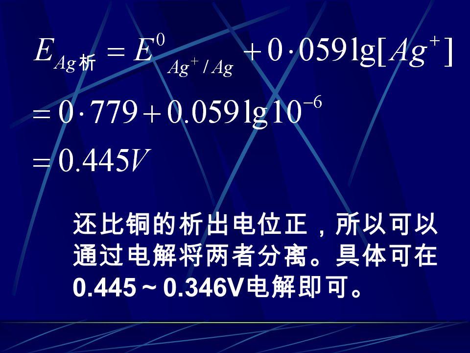还比铜的析出电位正,所以可以 通过电解将两者分离。具体可在 0.445 ~ 0.346V 电解即可。