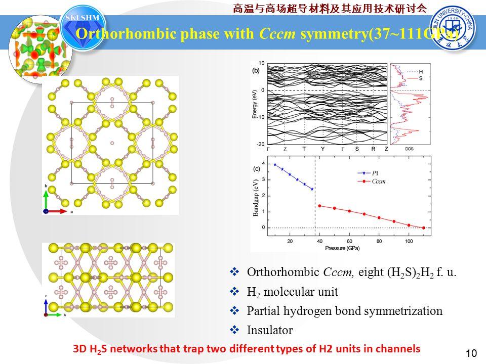 10 高温与高场超导材料及其应用技术研讨会 Orthorhombic phase with Cccm symmetry(37~111GPa)  Orthorhombic Cccm, eight (H 2 S) 2 H 2 f.
