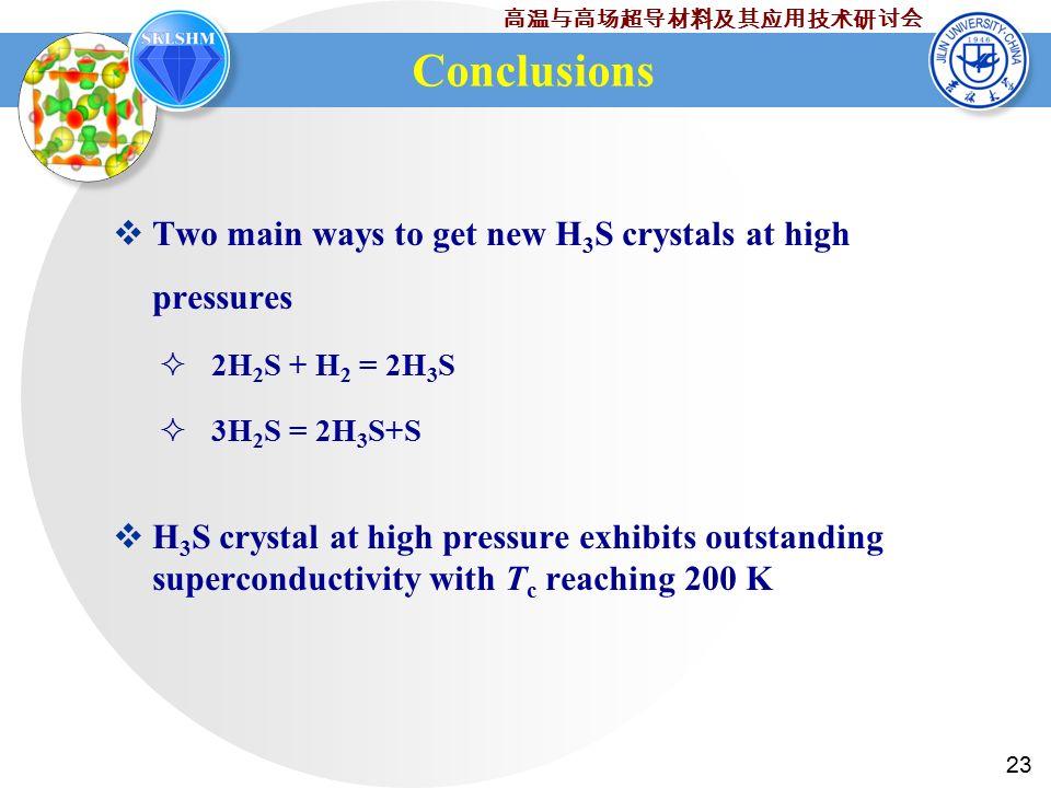 23 高温与高场超导材料及其应用技术研讨会 Conclusions  Two main ways to get new H 3 S crystals at high pressures  2H 2 S + H 2 = 2H 3 S  3H 2 S = 2H 3 S+S  H 3 S crystal at high pressure exhibits outstanding superconductivity with T c reaching 200 K