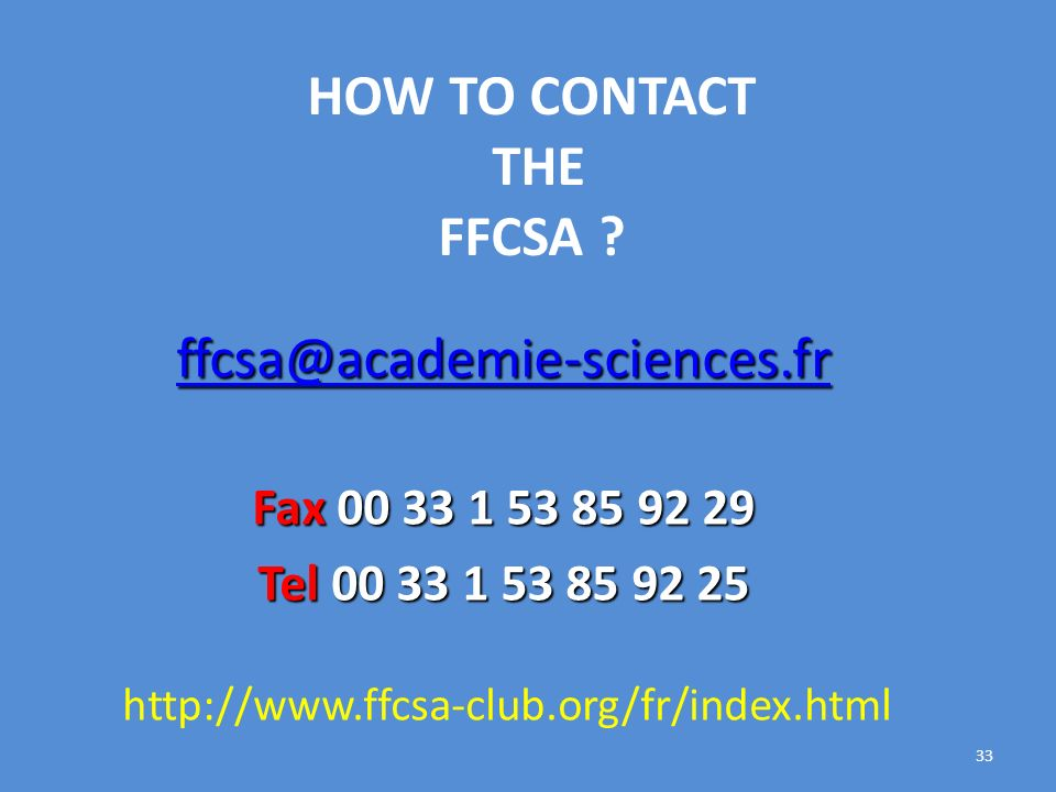 HOW TO CONTACT THE FFCSA .