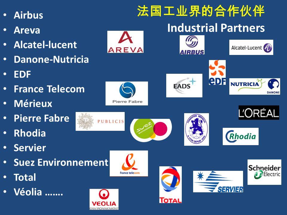 法国工业界的合作伙伴 Industrial Partners Airbus Areva Alcatel-lucent Danone-Nutricia EDF France Telecom Mérieux Pierre Fabre Rhodia Servier Suez Environnement Total Véolia …….