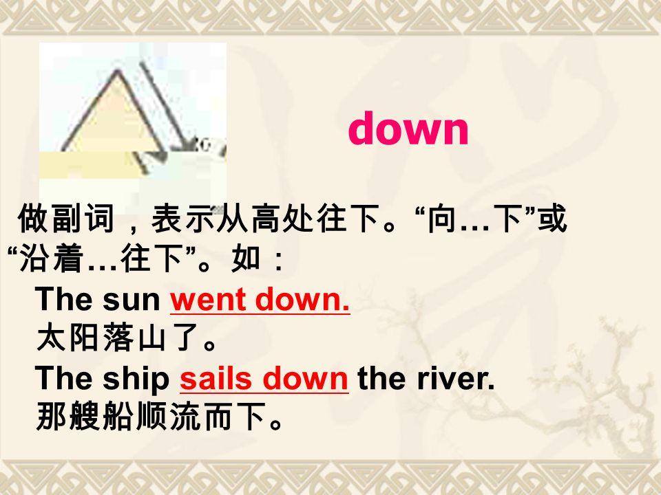 down 做副词,表示从高处往下。 向 … 下 或 沿着 … 往下 。如: The sun went down.