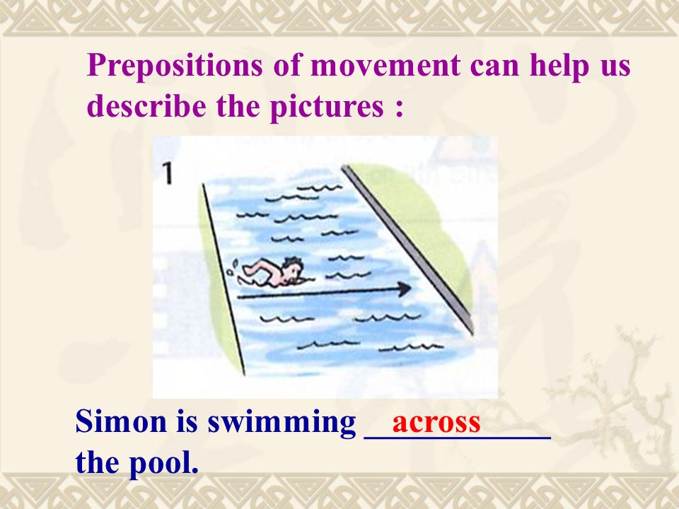 Simon is swimming ___________ the pool.