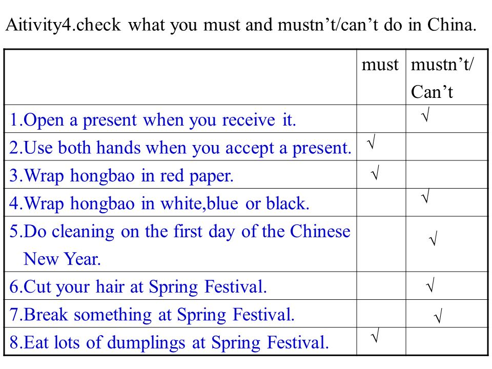 Aitivity4.check what you must and mustn't/can't do in China.