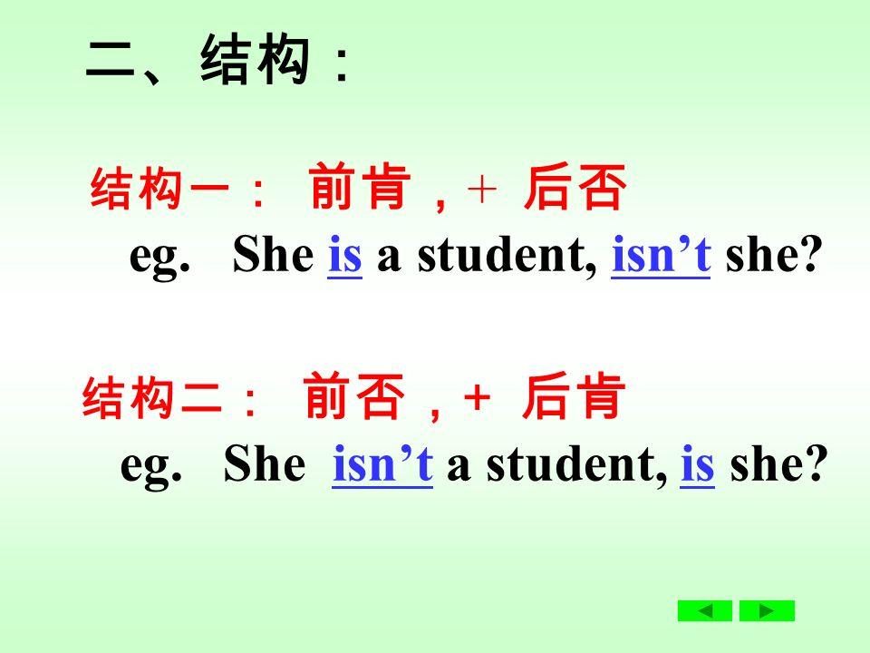 Grammar : 反意疑问句 1. She is a student, isn't she. 2.