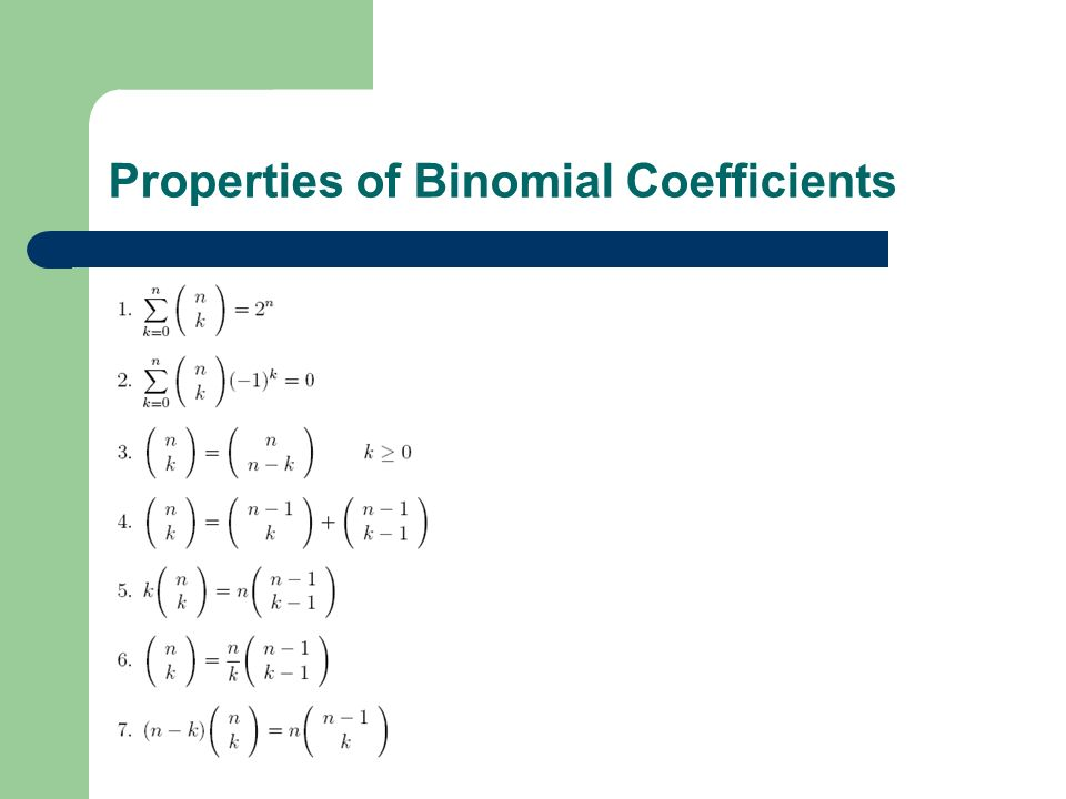 Properties of Binomial Coefficients