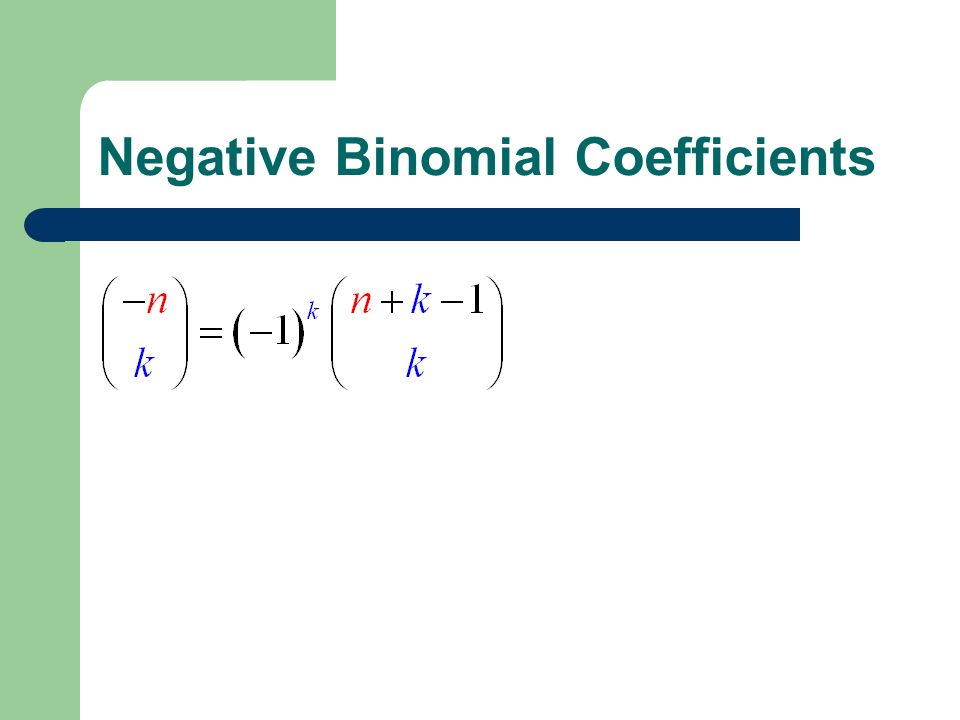 Negative Binomial Coefficients
