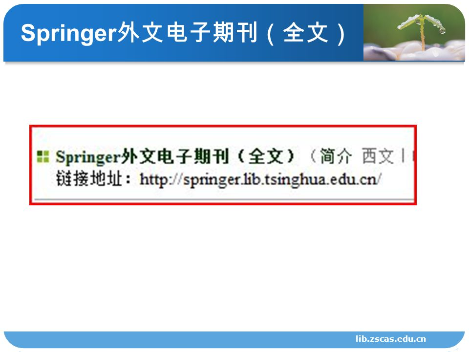 Springer 外文电子期刊(全文) lib.zscas.edu.cn