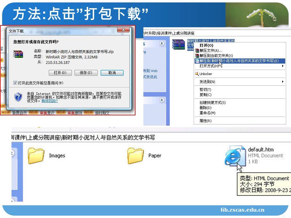 方法 : 点击 打包下载 lib.zscas.edu.cn