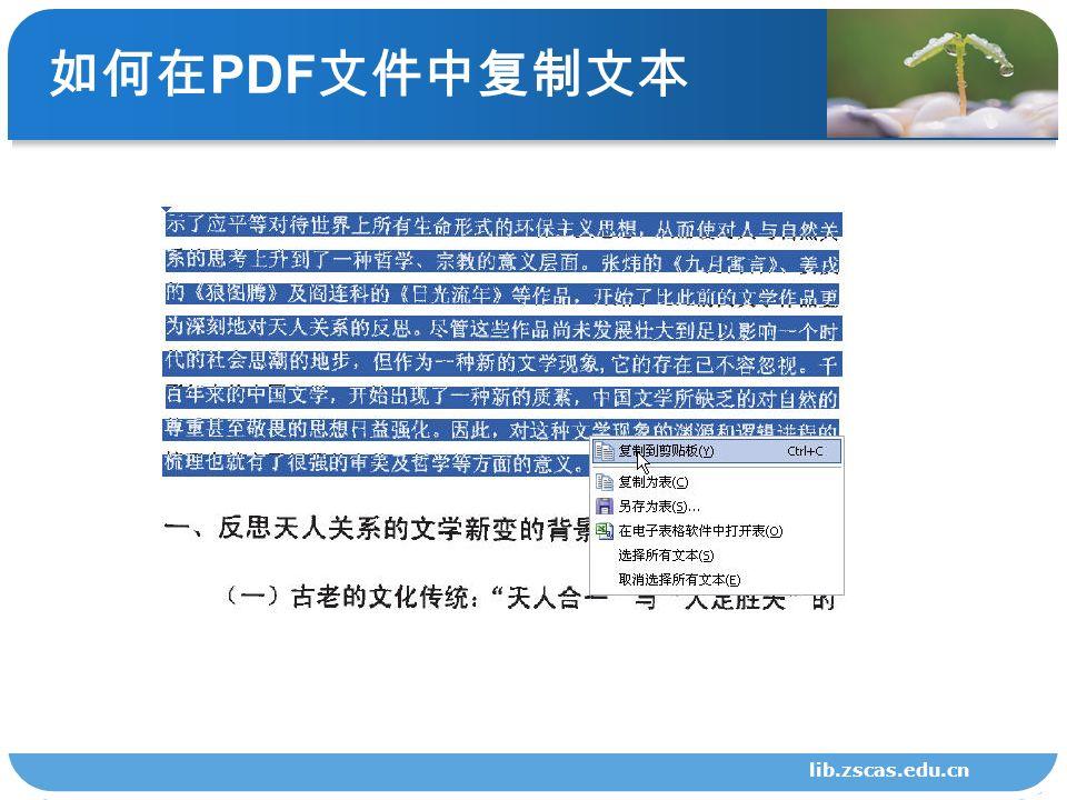 如何在 PDF 文件中复制文本 lib.zscas.edu.cn