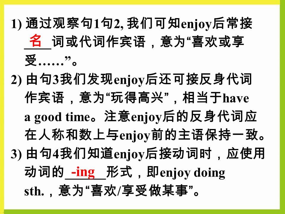 1) 通过观察句 1 句 2, 我们可知 enjoy 后常接 ____ 词或代词作宾语,意为 喜欢或享 受 …… 。 2) 由句 3 我们发现 enjoy 后还可接反身代词 作宾语,意为 玩得高兴 ,相当于 have a good time 。注意 enjoy 后的反身代词应 在人称和数上与 enjoy 前的主语保持一致。 3) 由句 4 我们知道 enjoy 后接动词时,应使用 动词的 ______ 形式,即 enjoy doing sth.