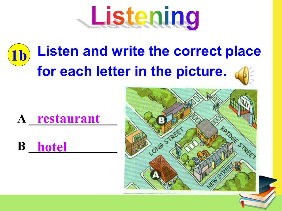 A ______________ B ______________ Listen and write the correct place for each letter in the picture.