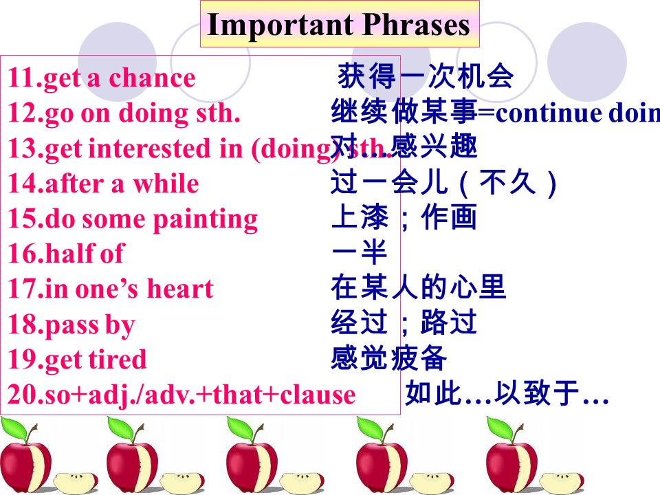 Important Phrases 11.get a chance 12.go on doing sth.