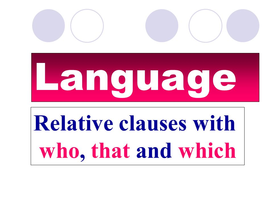 Language Relative clauses with who, that and which