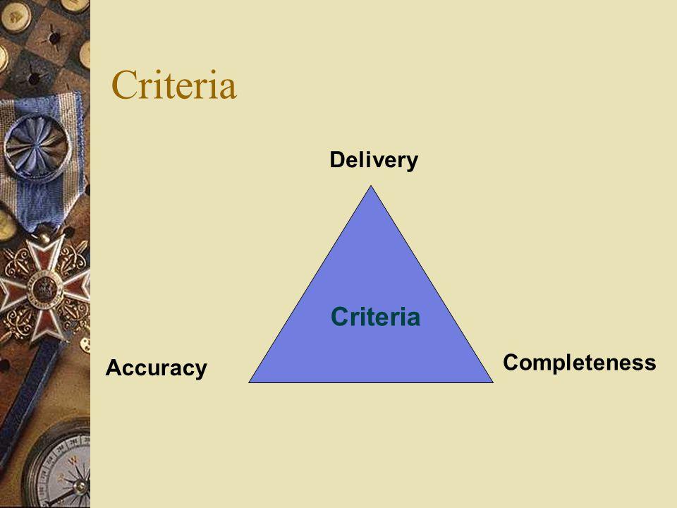 Criteria Delivery Accuracy Completeness Criteria