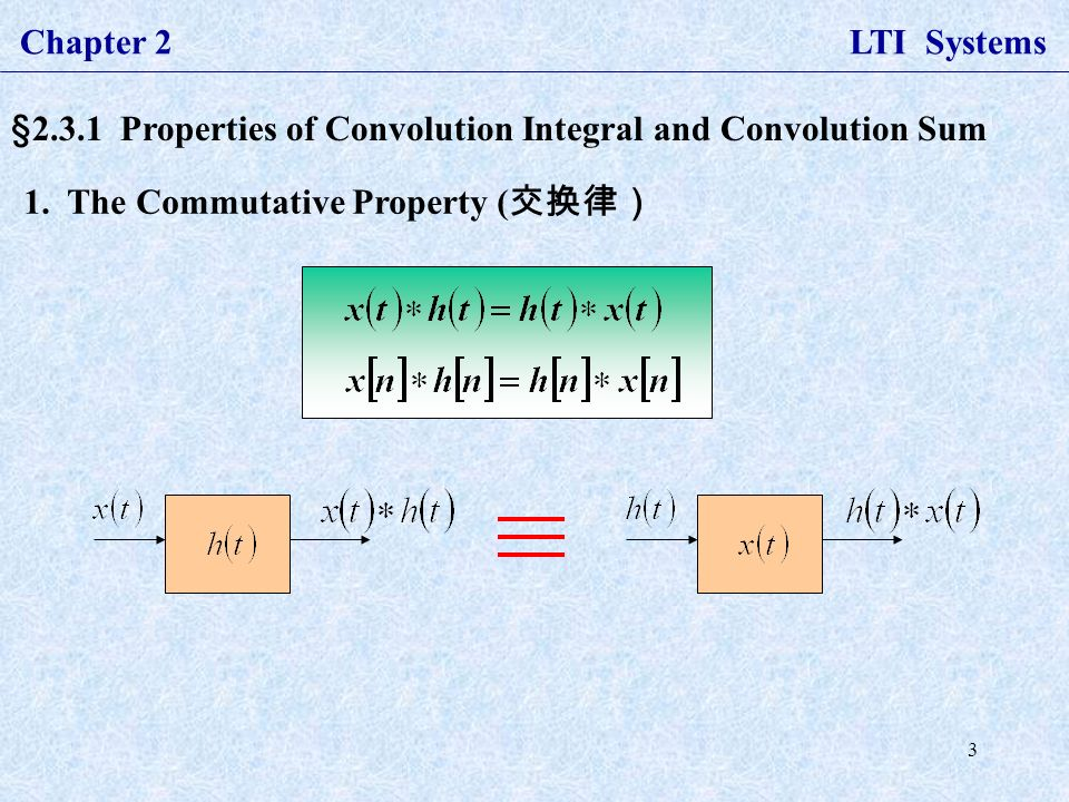 3 Chapter 2 LTI Systems §2.3.1 Properties of Convolution Integral and Convolution Sum 1.
