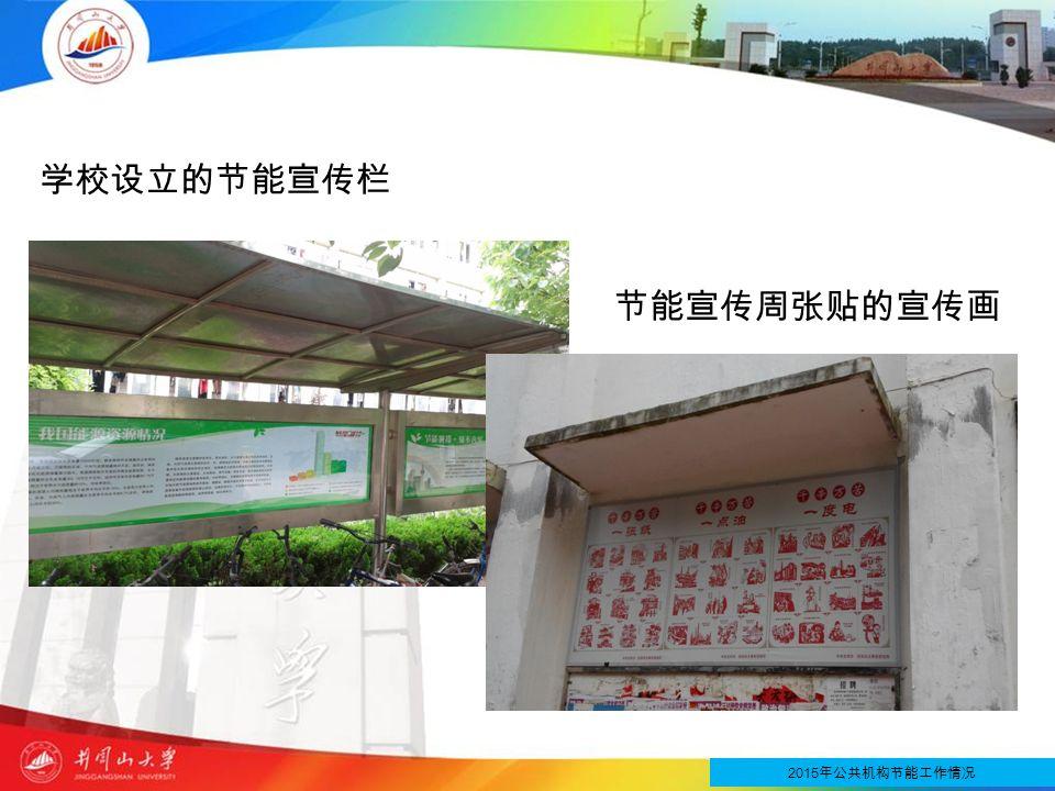 学校设立的节能宣传栏 2015 年公共机构节能工作情况 节能宣传周张贴的宣传画