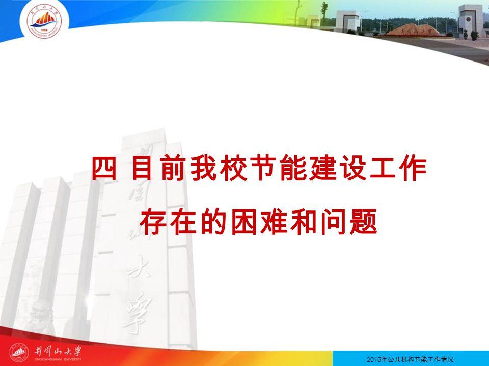 四 目前我校节能建设工作 存在的困难和问题 2013 年节约型公共机构示范单位创建情况 2015 年公共机构节能工作情况
