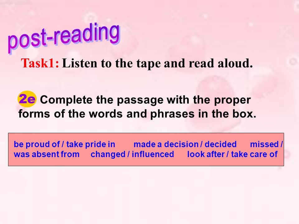 Task1: Listen to the tape and read aloud.