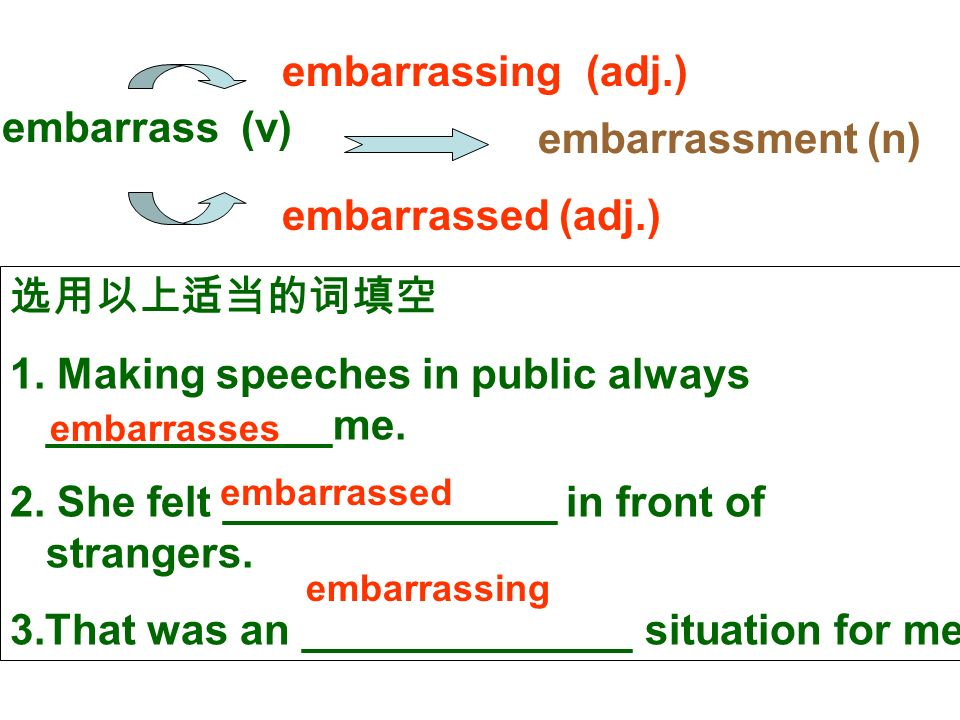 embarrassed (adj.) embarrass (v) embarrassing (adj.) embarrassment (n) 选用以上适当的词填空 1.