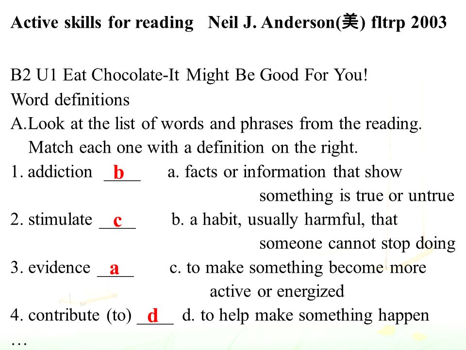 Active skills for reading Neil J.