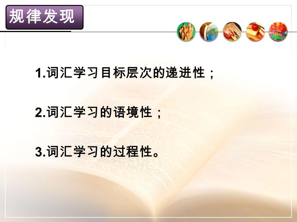 规律发现 1. 词汇学习目标层次的递进性; 2. 词汇学习的语境性; 3. 词汇学习的过程性。