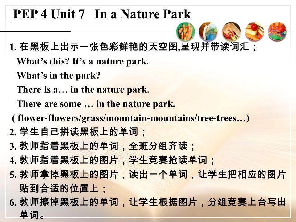 1. 在黑板上出示一张色彩鲜艳的天空图, 呈现并带读词汇; What's this. It's a nature park.