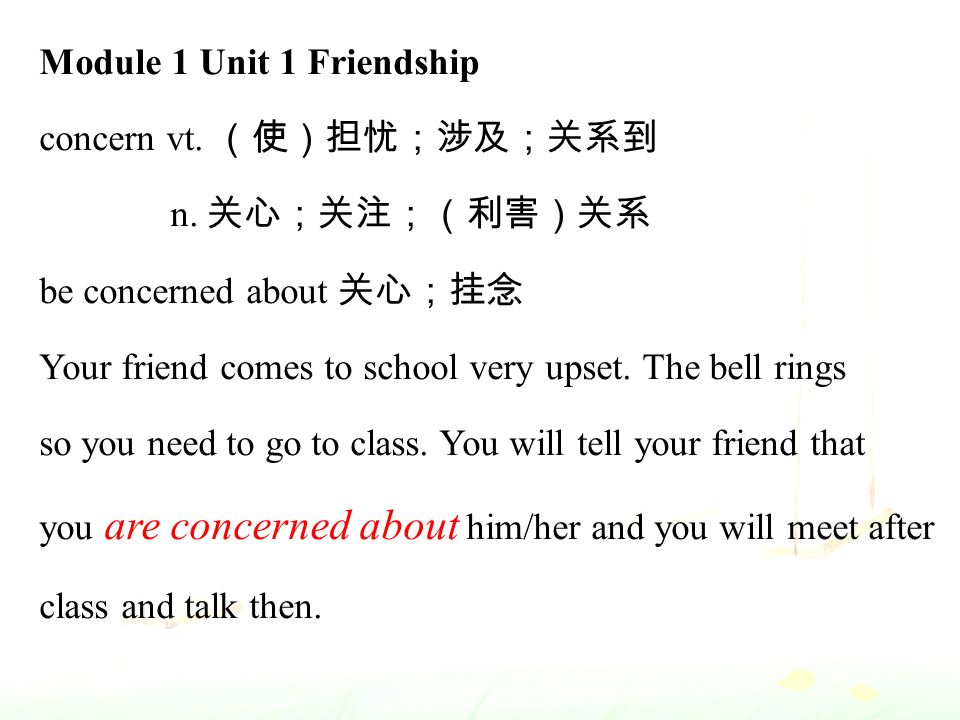 Module 1 Unit 1 Friendship concern vt. (使)担忧;涉及;关系到 n.