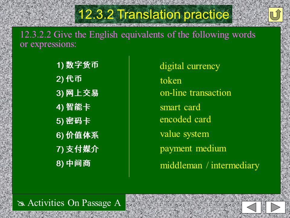 @ Activities On Passage A 12.3.2.1 Give the Chinese equivalents of the following words or expressions: 12.3.2 Translation practice 1) electronic currency 2) paper-based medium 3) conduct transaction 4) on-line form 5) paper currency 6) financial cryptography 7) in essence 8) financial market 电子货币 纸质媒介 进行交易 在线形式 纸币 金融密码系统 本质上 / 实质上 金融市场