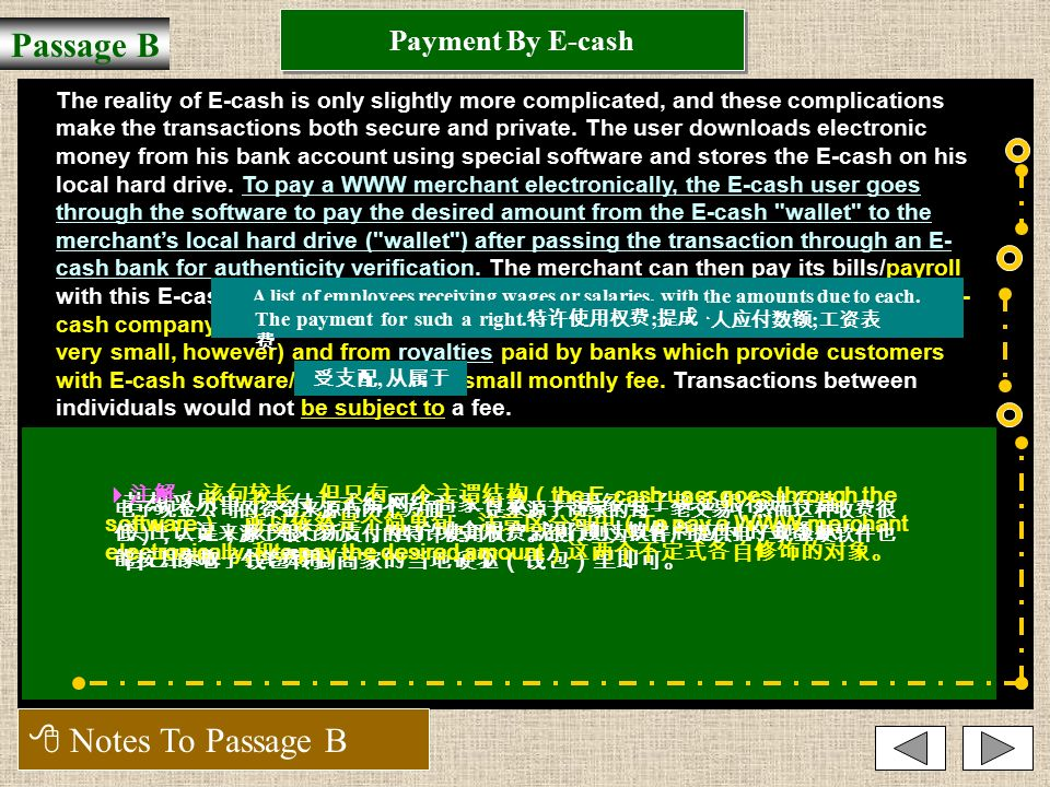 Payment By E-cash Passage B  Notes To Passage B 电子现金用户只需要将钱从自己的银行账户转到受款人的账户里就行了,而无须请 求银行通过开支票的办法来转移资金。  注解:介词短语 Instead of requesting the banks to transfer the funds through the mechanism of a check 中的不定式 to transfer the funds through the mechanism of a check 是宾语补足语。此处运用了动词 request sb.