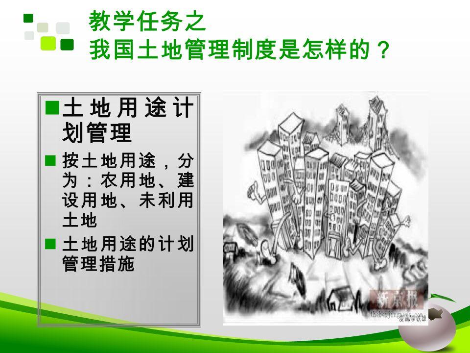 教学任务之 我国土地管理制度是怎样的? 土地用途计 划管理 按土地用途,分 为:农用地、建 设用地、未利用 土地 土地用途的计划 管理措施