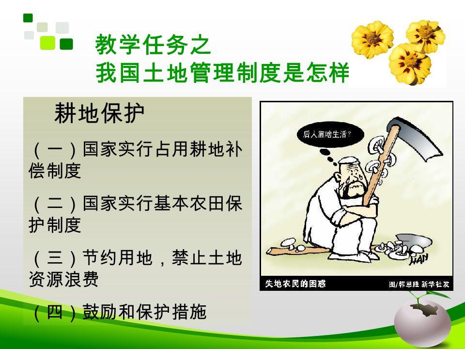 教学任务之 我国土地管理制度是怎样的? 耕地保护 (一)国家实行占用耕地补 偿制度 (二)国家实行基本农田保 护制度 (三)节约用地,禁止土地 资源浪费 (四)鼓励和保护措施