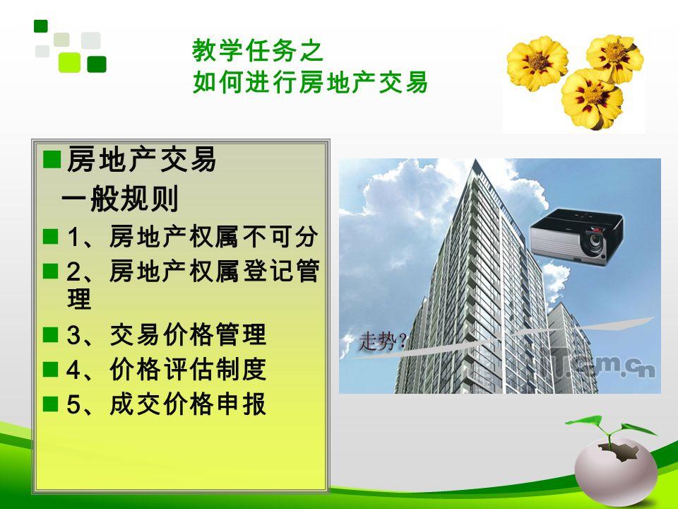 房地产交易 一般规则 1 、房地产权属不可分 2 、房地产权属登记管 理 3 、交易价格管理 4 、价格评估制度 5 、成交价格申报 教学任务之 如何进行房地产交易