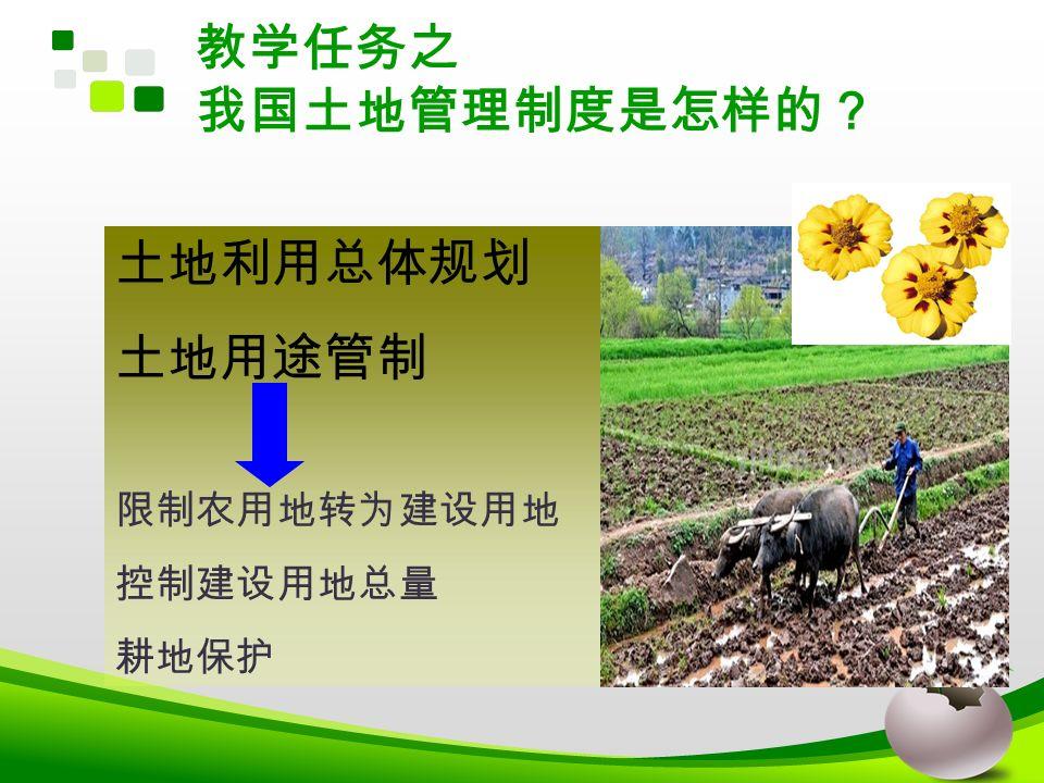 教学任务之 我国土地管理制度是怎样的? 土地利用总体规划 土地用途管制 限制农用地转为建设用地 控制建设用地总量 耕地保护