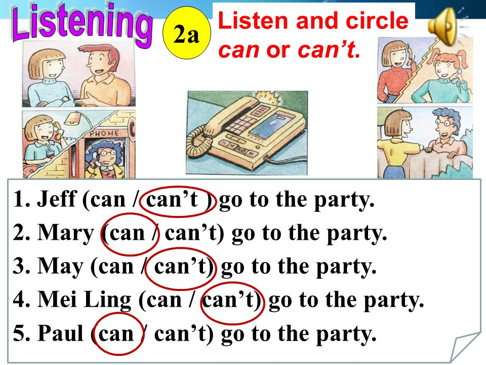 Listen and circle can or can't. 2a 1. Jeff (can / can't ) go to the party.