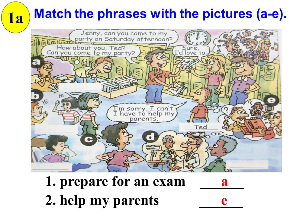 Match the phrases with the pictures (a-e). 1a 1. prepare for an exam ______ 2.