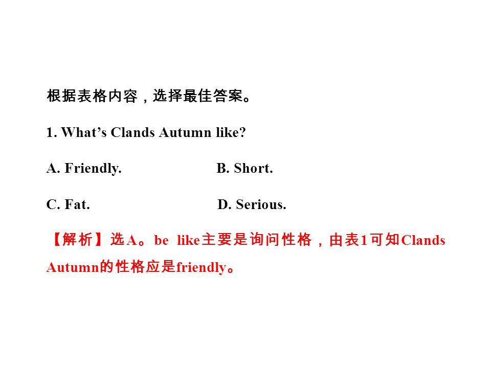 根据表格内容,选择最佳答案。 1. What's Clands Autumn like. A. Friendly.