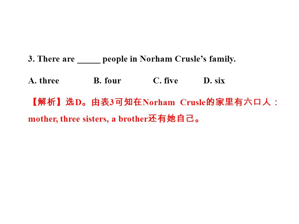 3. There are _____ people in Norham Crusle's family.