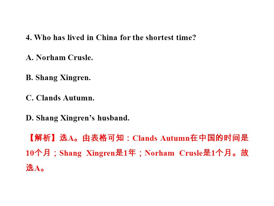 4. Who has lived in China for the shortest time. A.