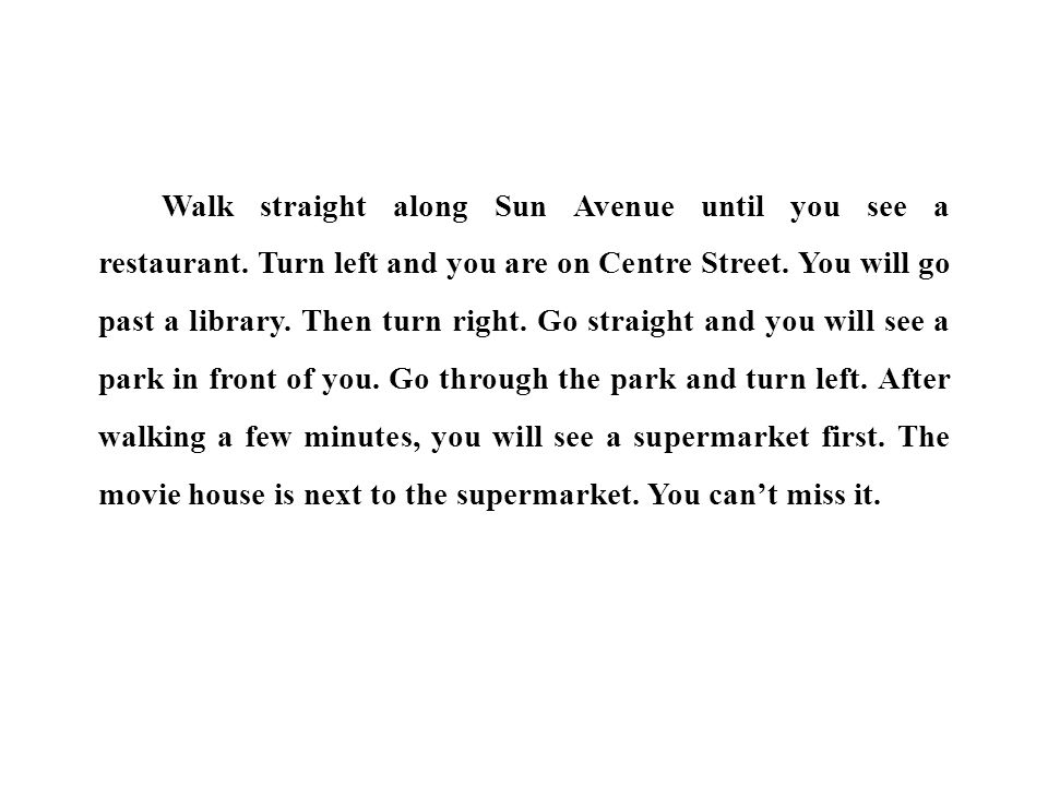 Walk straight along Sun Avenue until you see a restaurant.