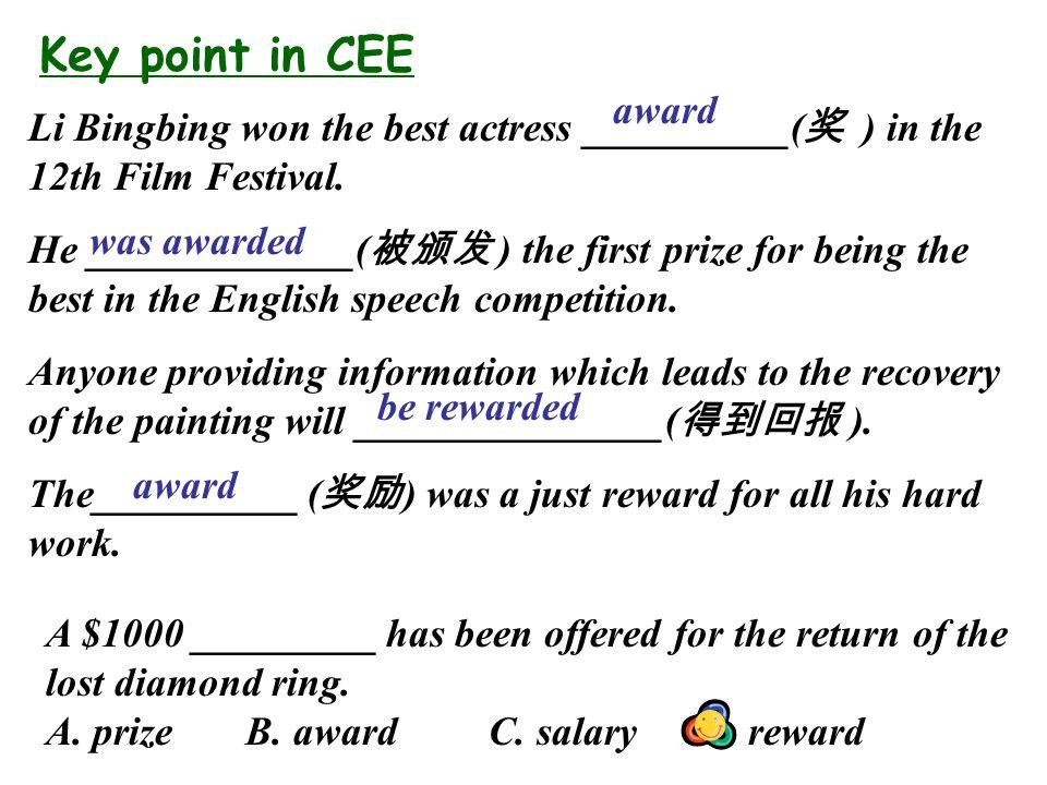 Key point in CEE Li Bingbing won the best actress __________( 奖 ) in the 12th Film Festival.