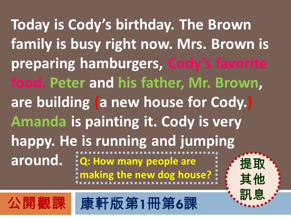 Today is Cody's birthday. The Brown family is busy right now.