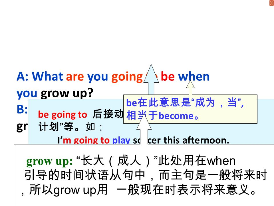 What are you going to be when you grow up . ---I'm going to be … How are you going to do that .