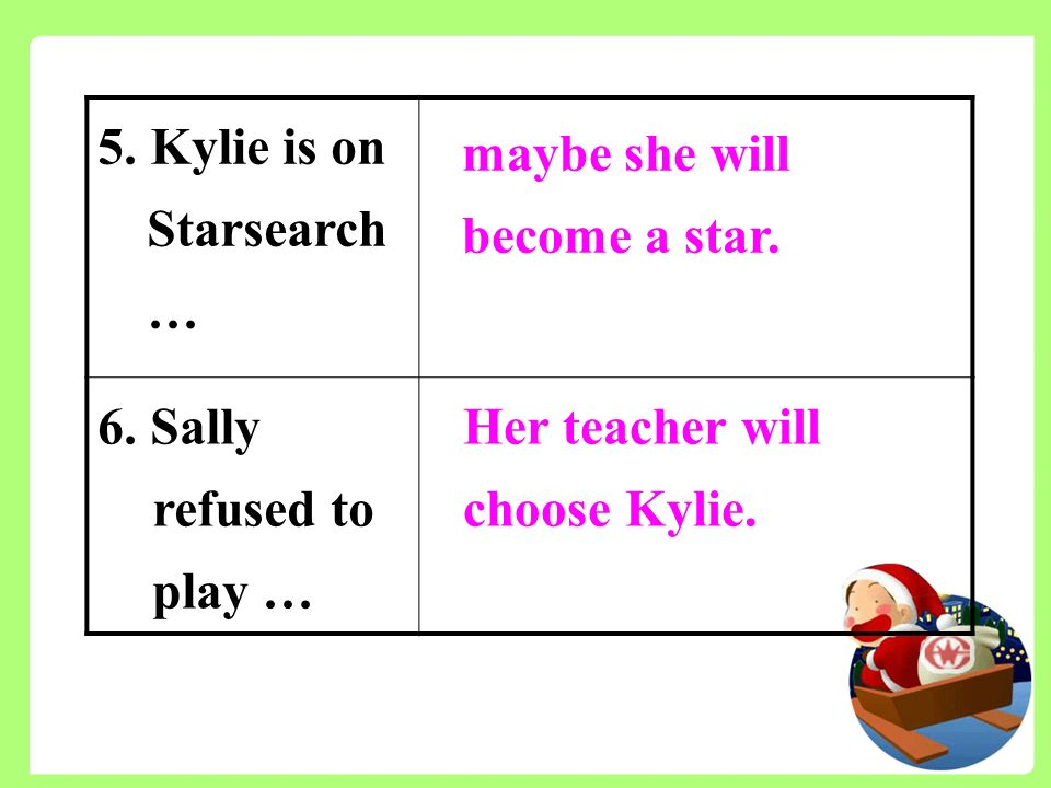 5. Kylie is on Starsearch … 6. Sally refused to play … maybe she will become a star.