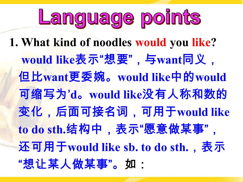 1. What kind of noodles would you like.