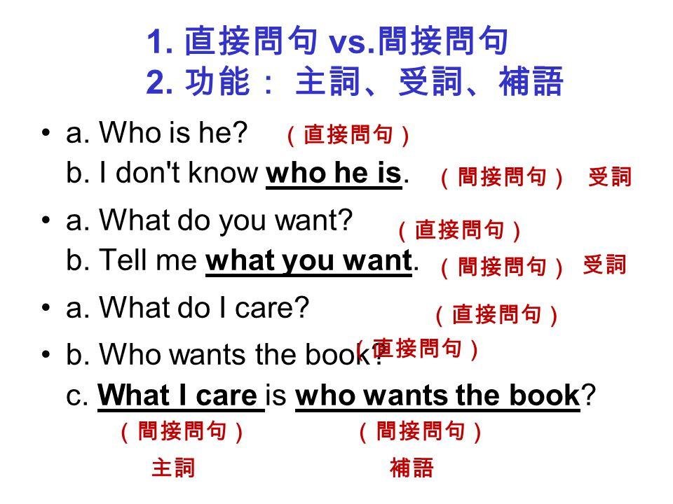Grammar Focus 「間接問句」 = 含疑問的名詞子句 當句子裡的主詞、受詞、補語 Wh- + S + ( 助動詞 ) + V